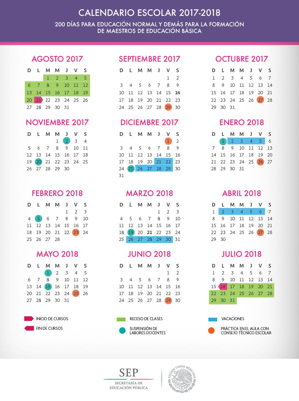 Calendario de Educación Básica para Maestros