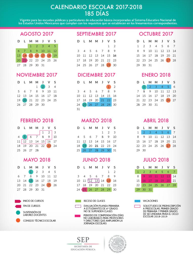 Calendario Escolar 2017-2018 en México