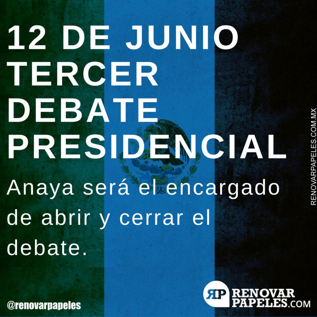 12 de junio tercer debate presidencial