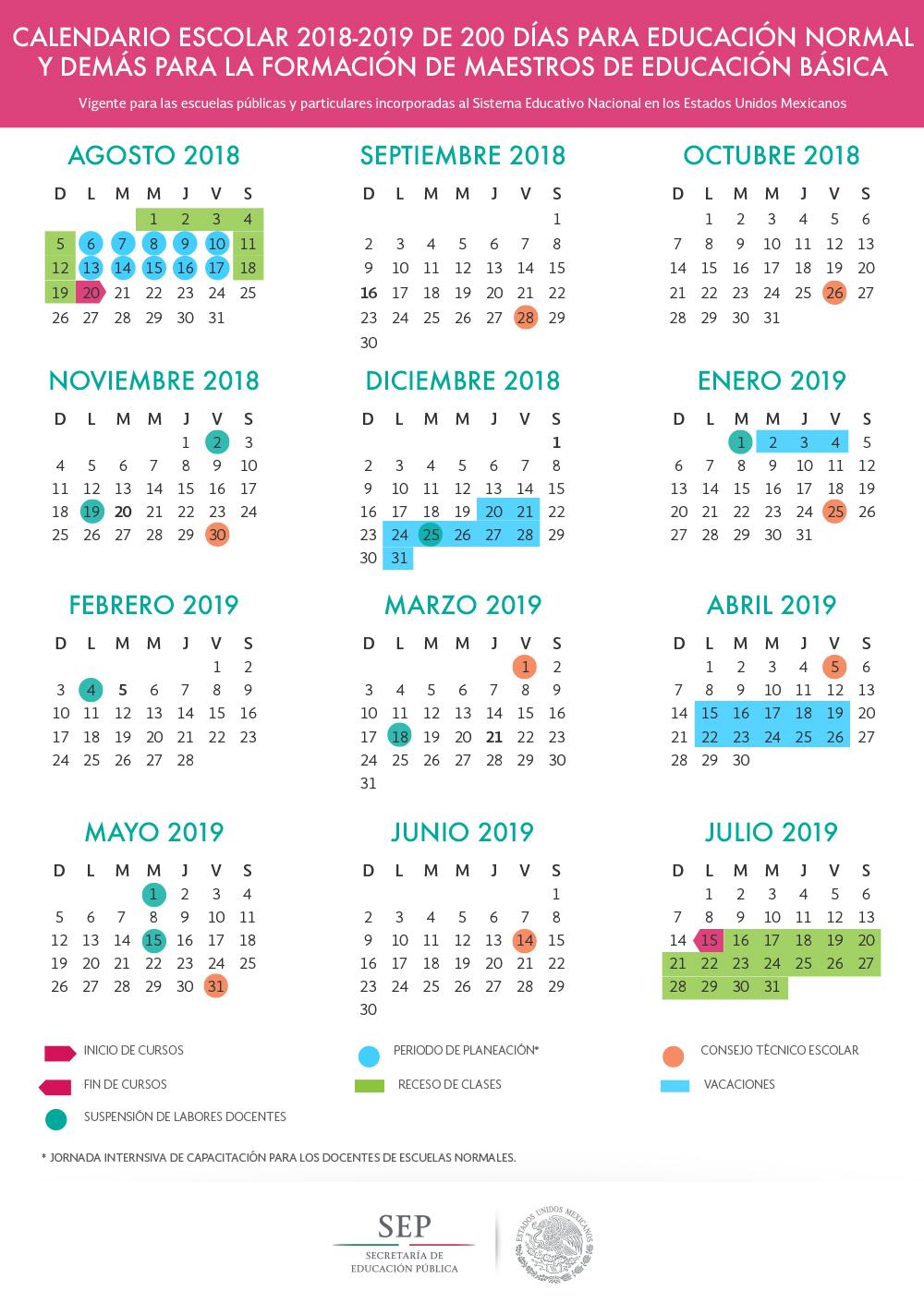 Calendario Escolar de 200 Días de 2018 - 2019 México